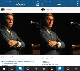 By the difference in picture length, he appears to have deleted the left image and reposted it with a new caption.